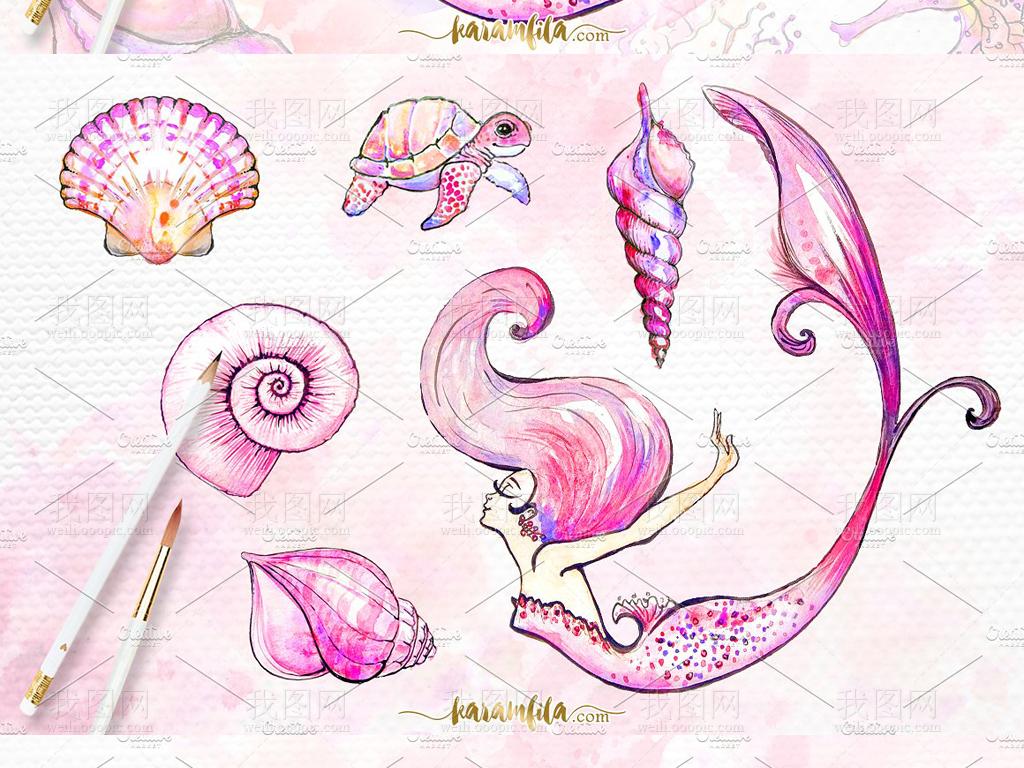水彩画唯美粉色系海底世界美人鱼插图海报设计素材