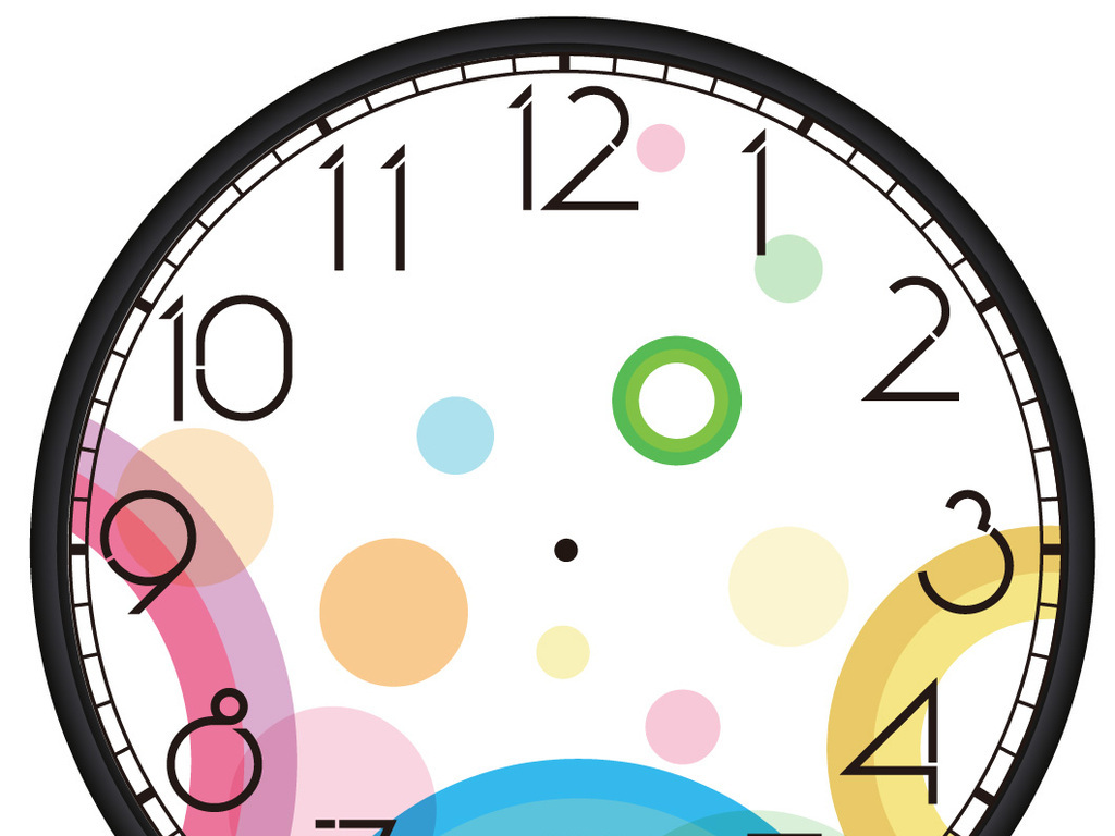 时钟加上墙画手绘