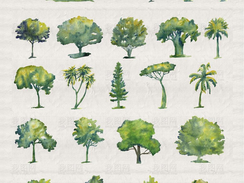 水彩画绿色植物树木海报卡片包装等设计素材