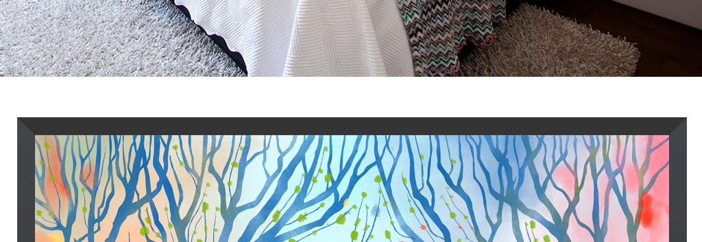 原创高清手绘北欧梦幻森林鹿三联艺术装饰画