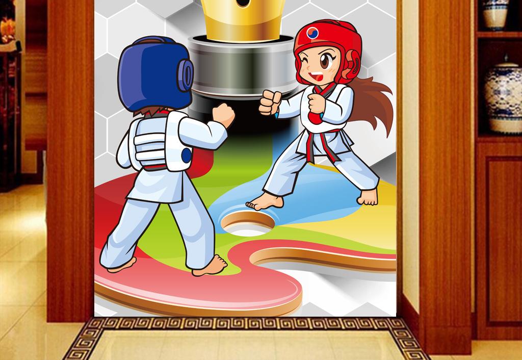 3d背景手绘跆拳道健身房工装玄关