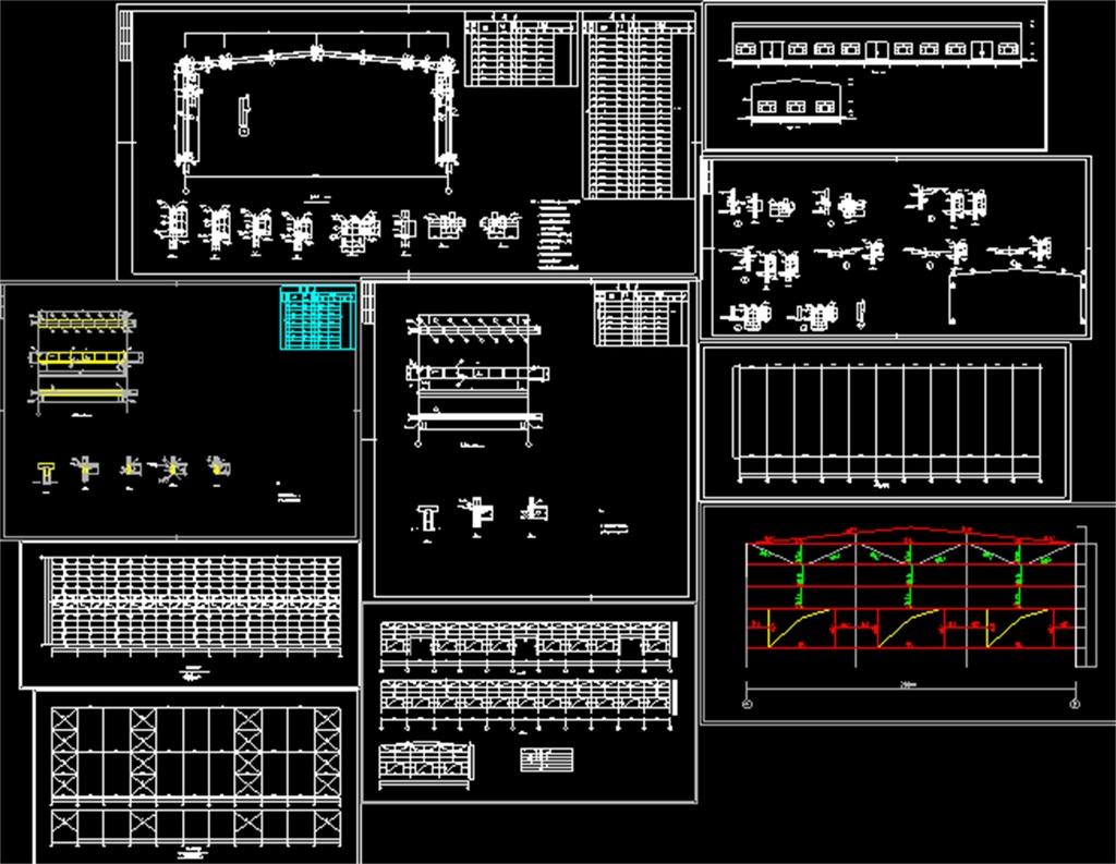 厂房cad装修平面图厂房cad结构设计图厂房cad平面装修图厂房cad钢结构