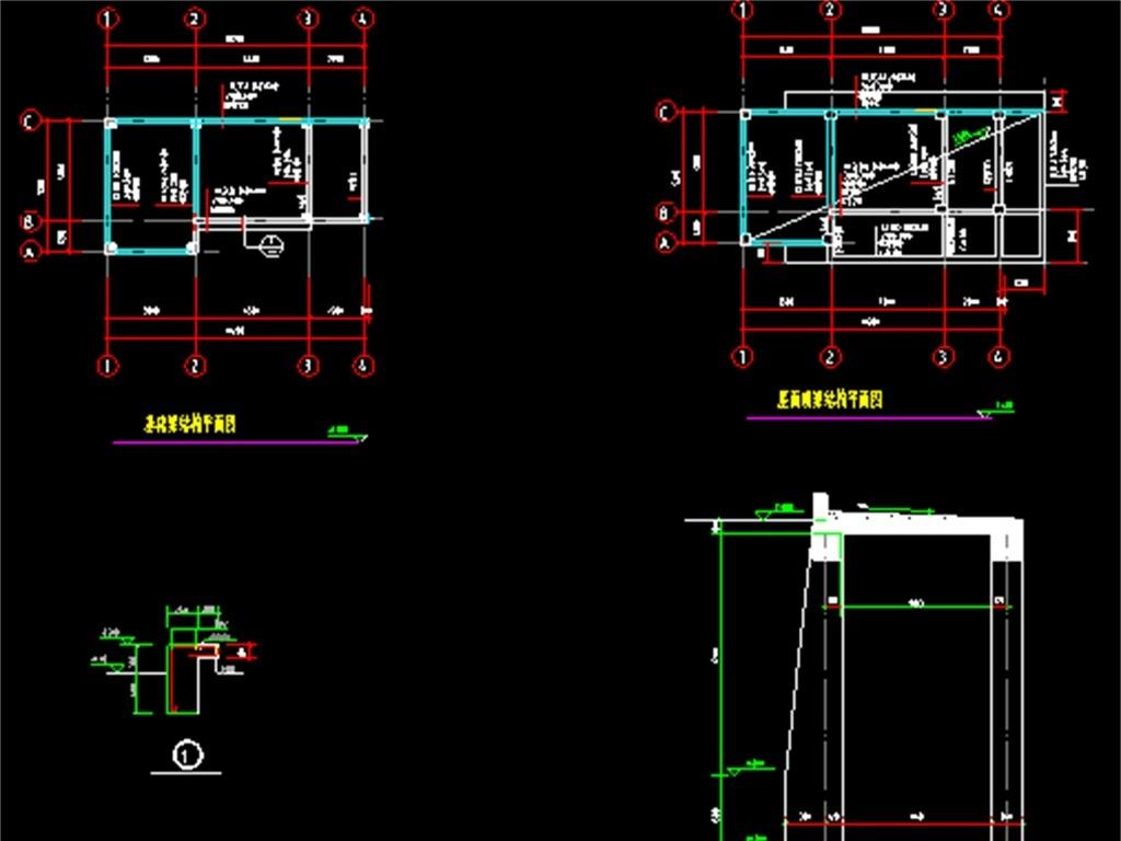 框架结构厂房cad设计图平面图下载(图片0.48mb)_cad