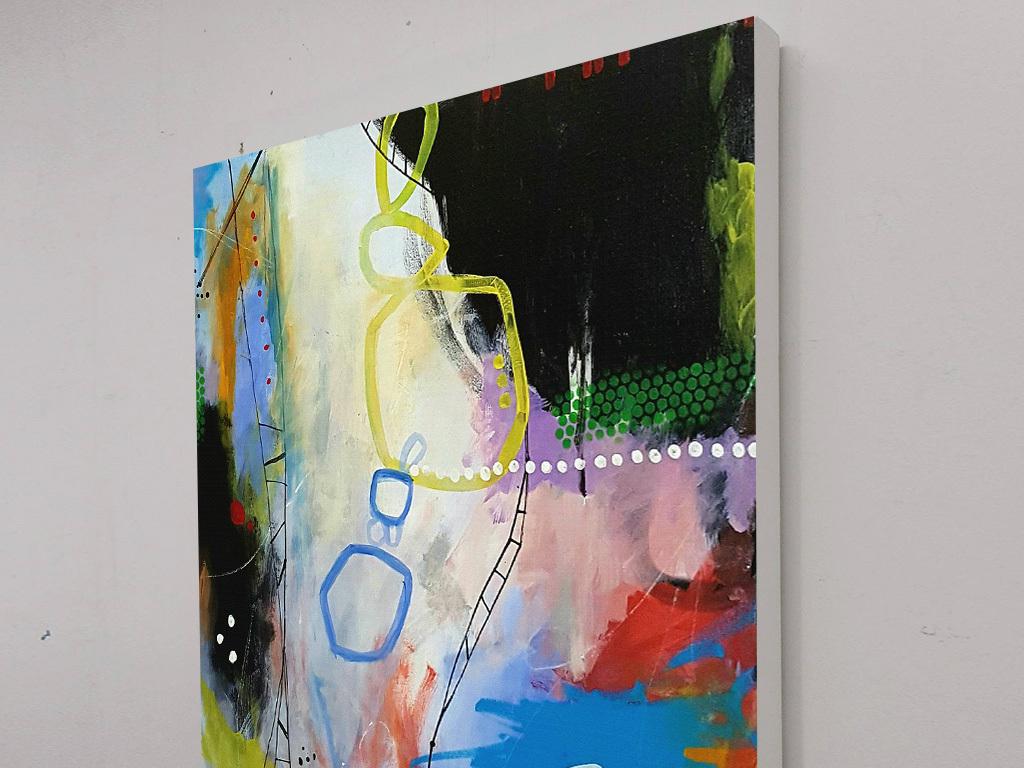蓝色圆圈黑色色块涂鸦抽象装饰画