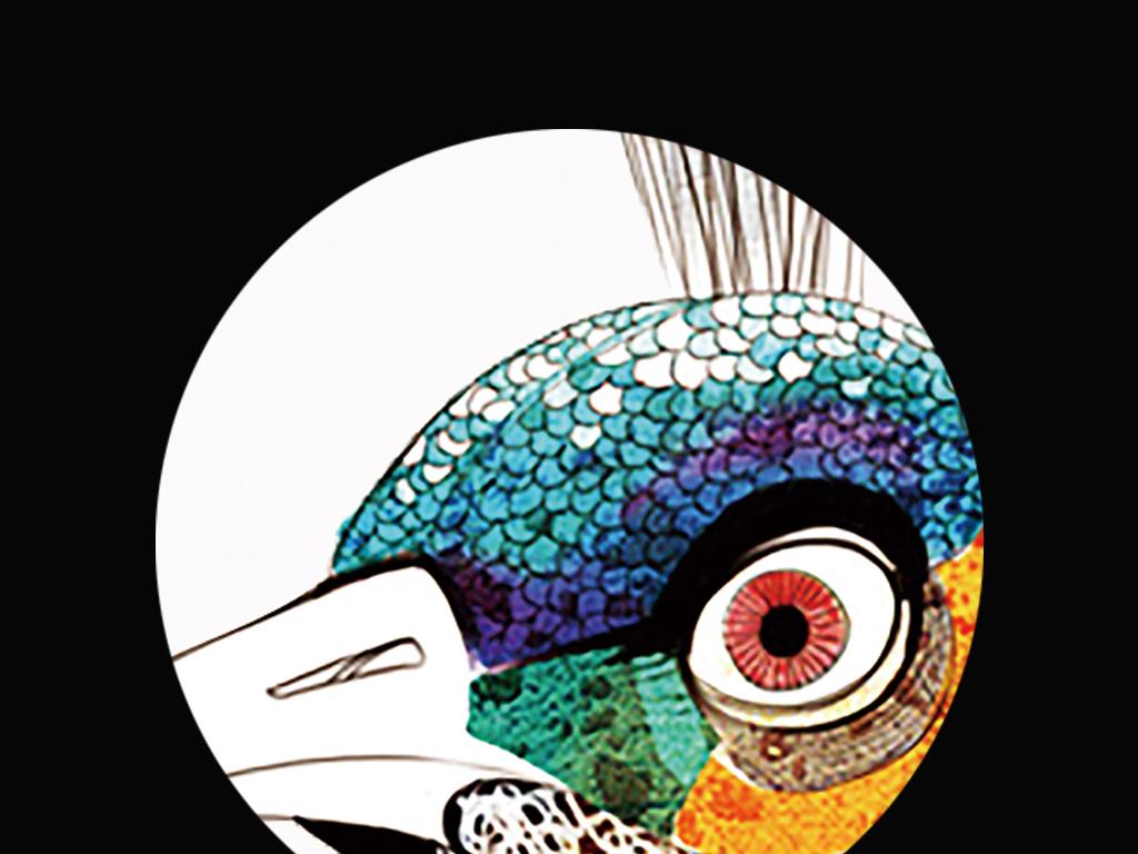 北欧简约手绘孔雀羽毛时尚装饰画三联无框画