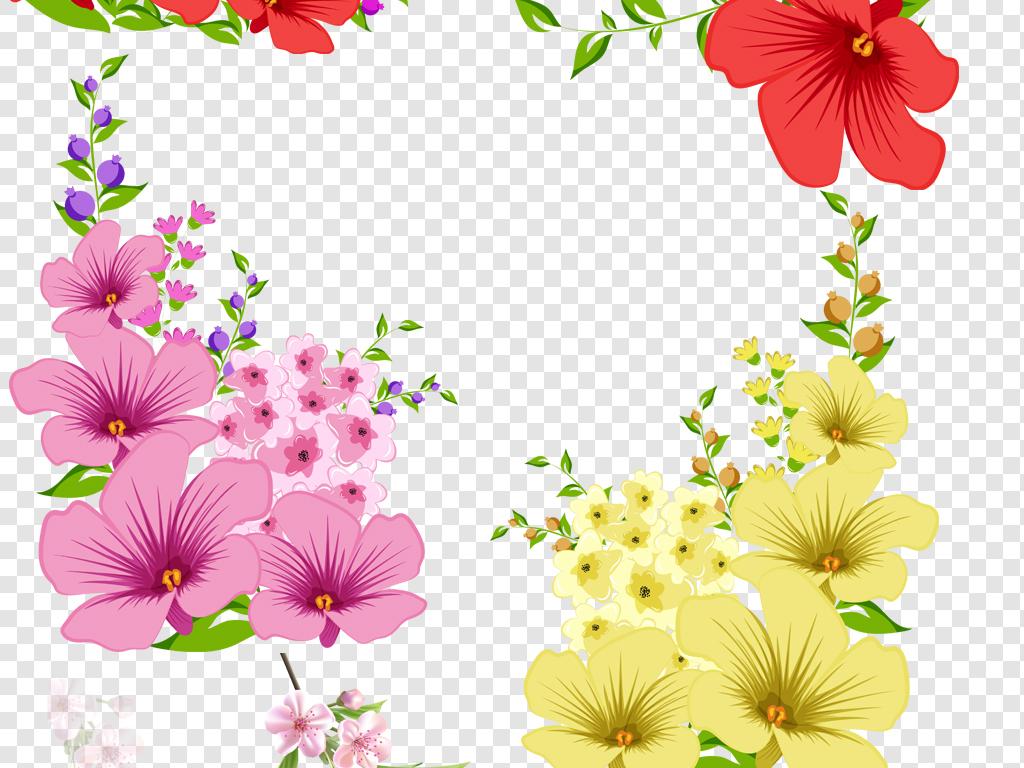 300dpi高清漂亮的手绘花卉花边png免抠素材