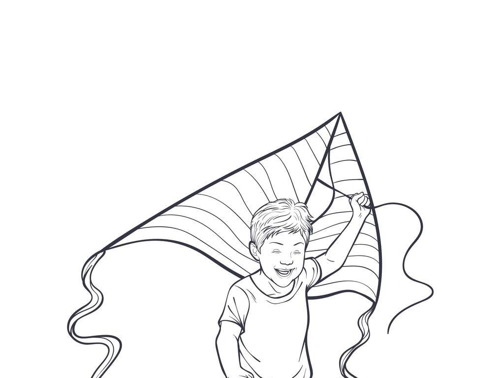 放风筝的小男孩简笔插画