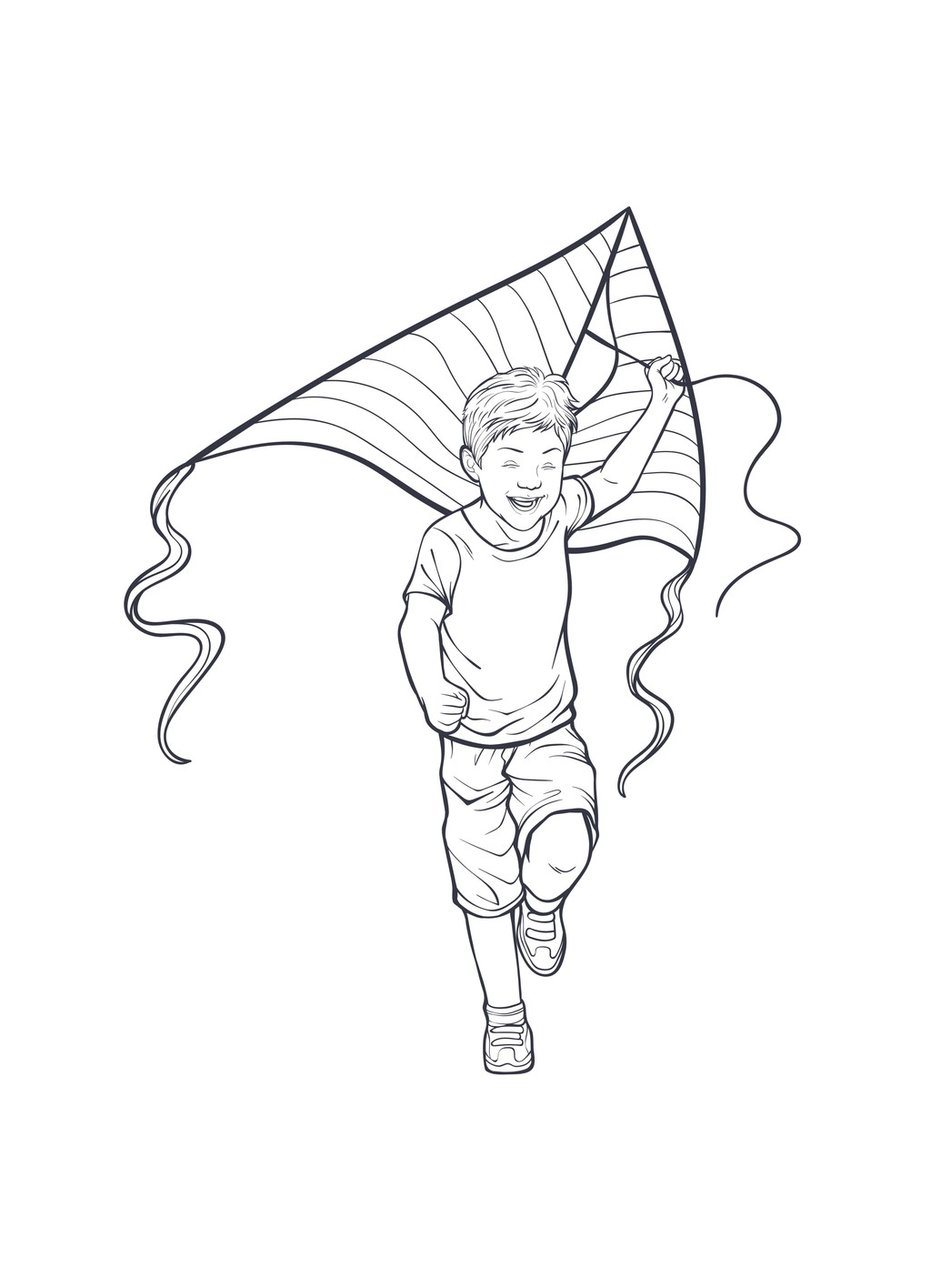 放风筝的小男孩简笔插画图片素材 放风筝的小男孩简笔插画其他格式模图片