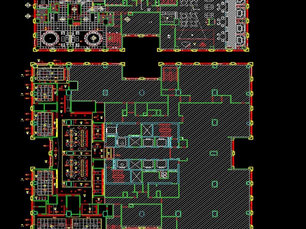 酒店中餐厅CAD平面图附效果图