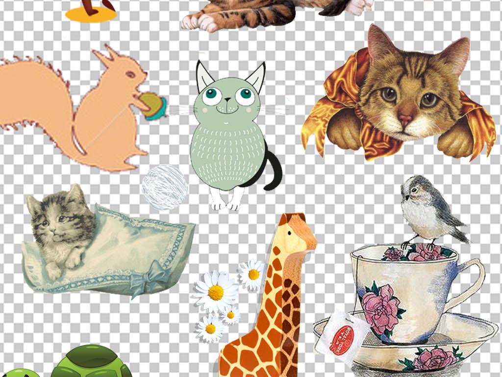淘宝天猫点缀动物可爱小猫装饰png素材 位图, cmyk格式高清大图,使用