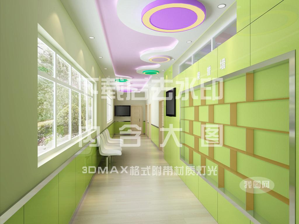 幼儿园走廊手绘效果图-走廊吊顶效果图/幼儿园走廊效果图/手绘室内