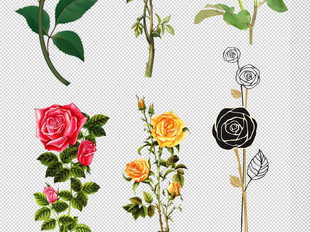 设计元素 自然素材 花卉 > 卡通手绘精美玫瑰花朵花环边框png图片  版