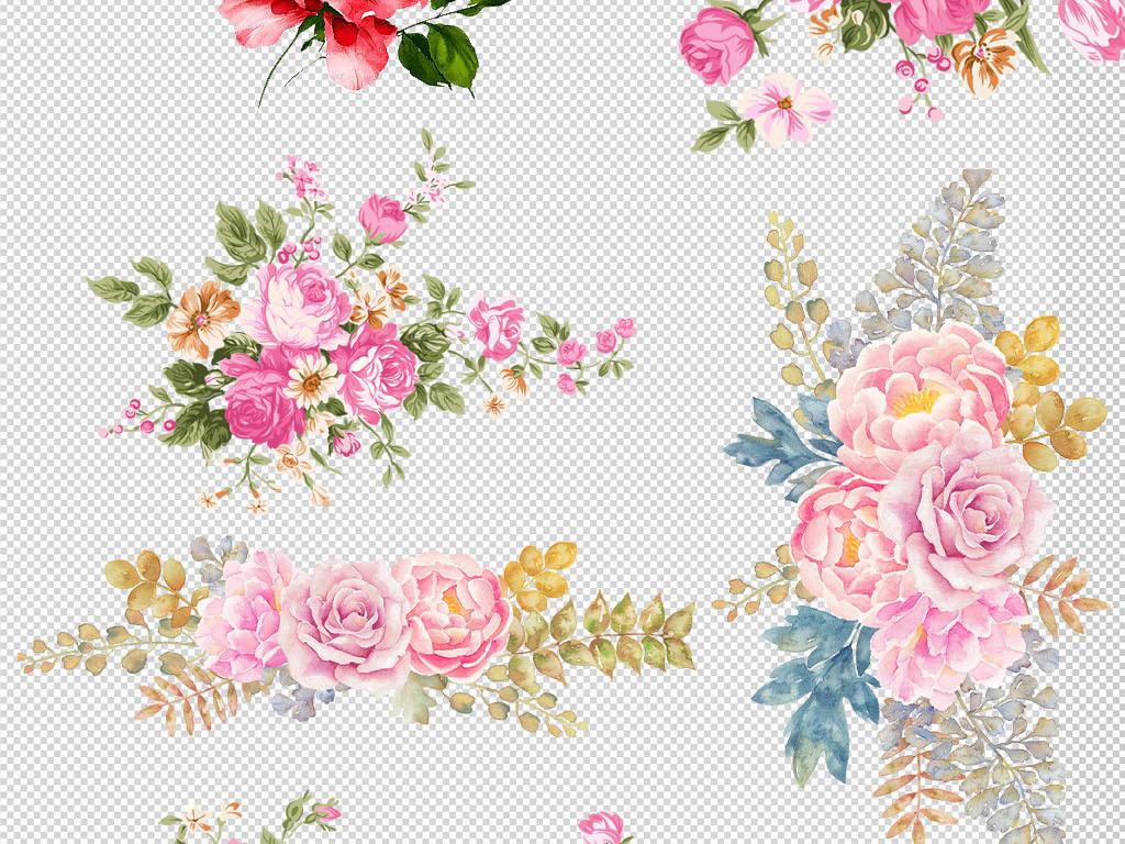 卡通手绘精美玫瑰花朵花环边框png图片
