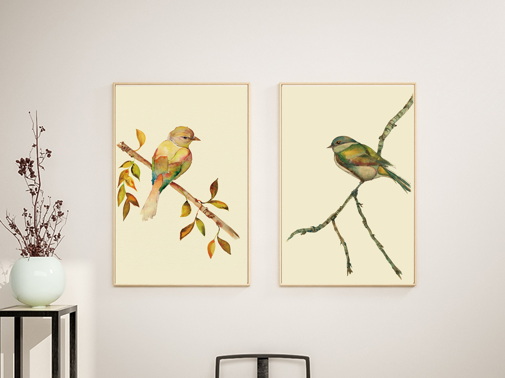 中式简约手绘水彩小鸟无框画