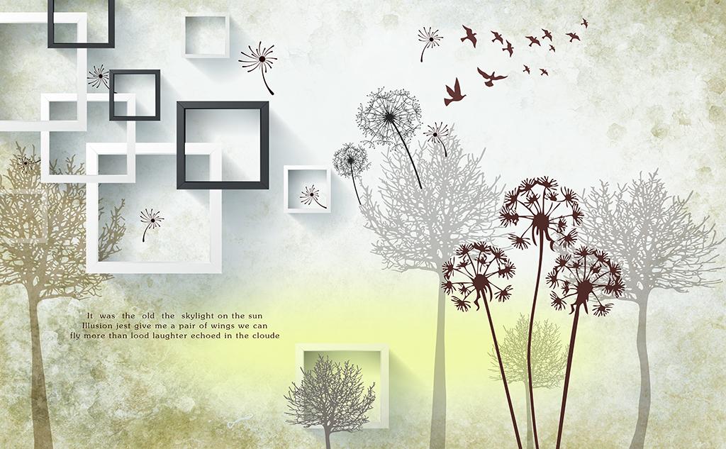 现代简约手绘树蒲公英电视背景墙