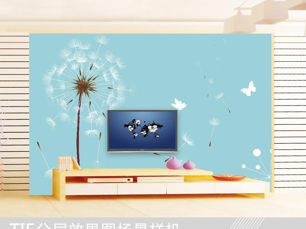背景墙|装饰画 电视背景墙 手绘电视背景墙 > 现代简约蒲公英蝴蝶电视