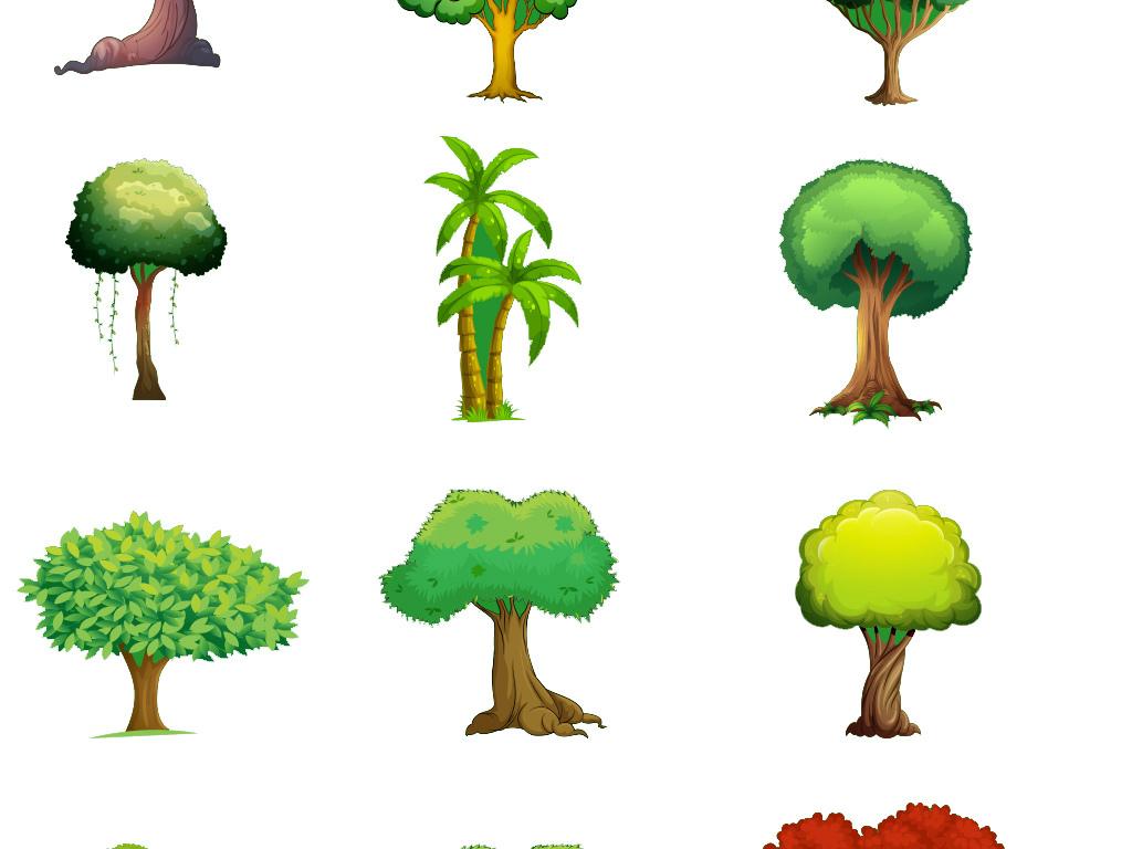 绿色手绘树木树叶素材集合