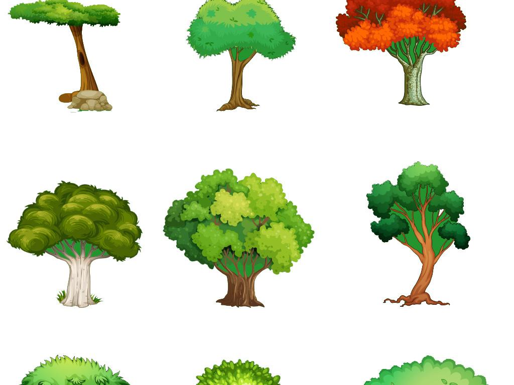 设计作品简介: 绿色手绘树木树叶素材集合 位图, cmyk格式高清大图,使