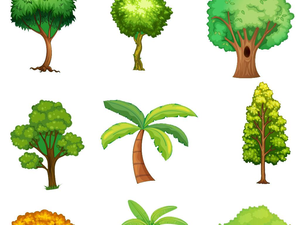 绿色手绘树木树叶素材集合图片