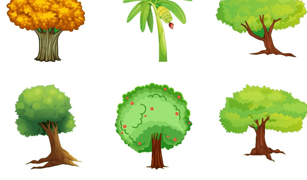 psd)春天卡通花草树木图片背景手绘森林树木剪影