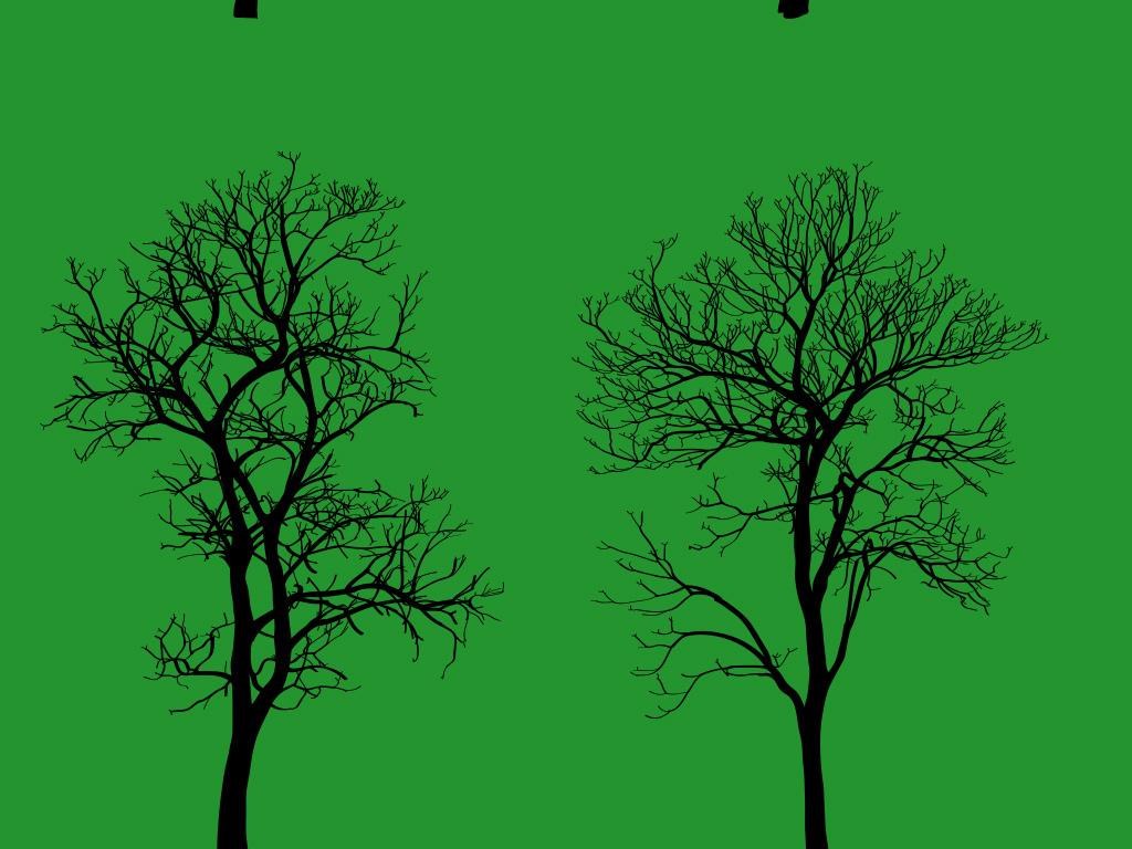 手绘卡通树素材大树树木植物免扣png素材