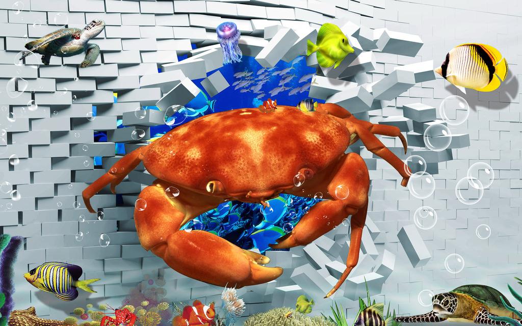 3d破墙螃蟹海底世界