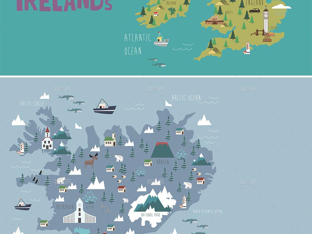 扁平卡通鼠绘游戏地图矢量背景元素