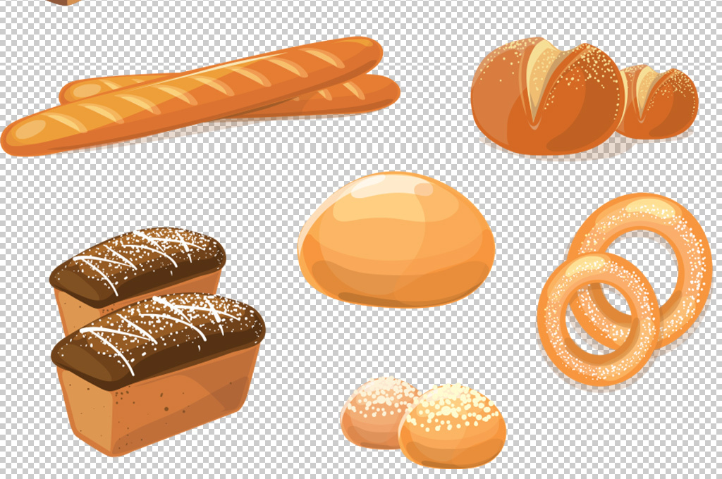 高清矢量卡通手绘面包早餐点心下午茶图片