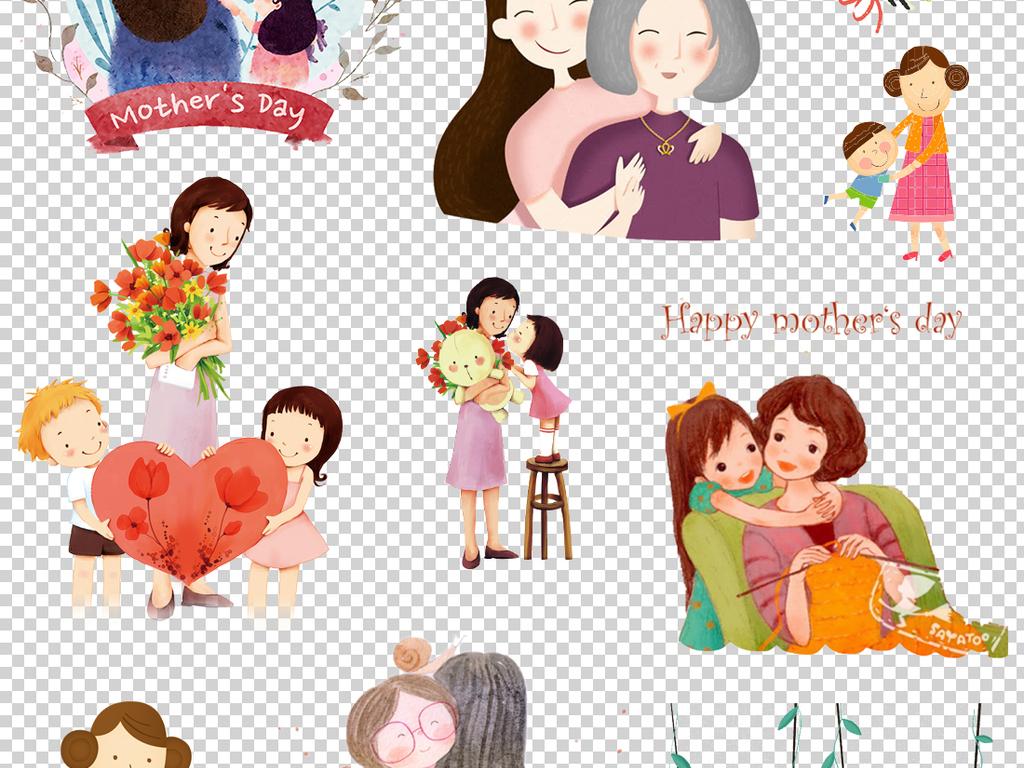 卡通感恩母亲节png透明背景免扣素材.jpg