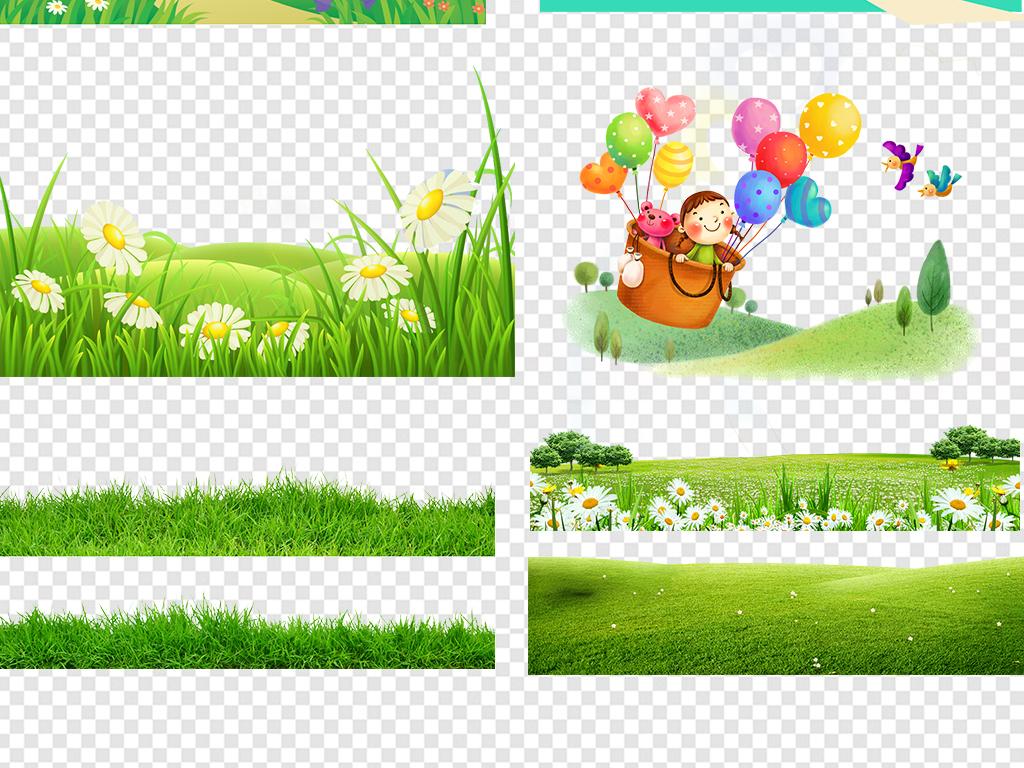 免抠元素 花纹边框 卡通手绘边框 > 卡通绿色草地草坪草丛高清png矢量