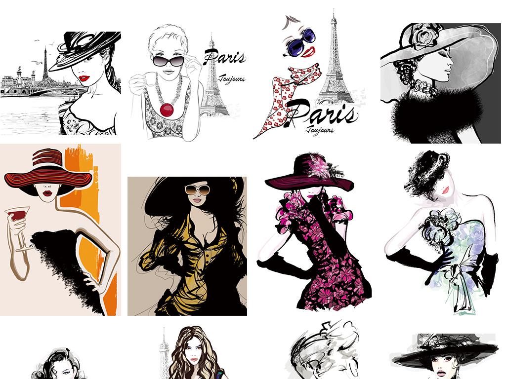 手绘彩绘卡通时尚美女海报矢量素材(图片编号:)_美女