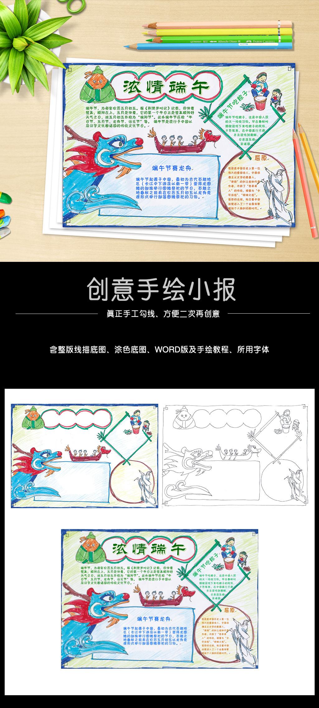 手绘端午小报word传统节日手抄报模板