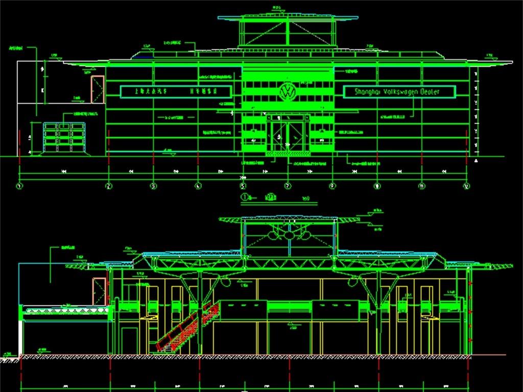 汽车展厅cad施工设计图