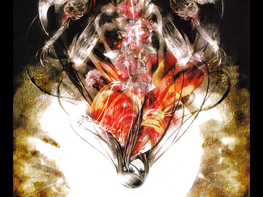 邪恶天使日本动漫游戏手绘网咖酒吧装饰画