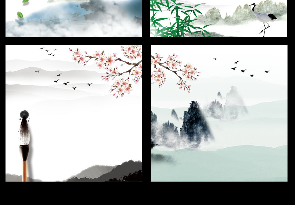 淘宝天猫小清新水墨中国风主图