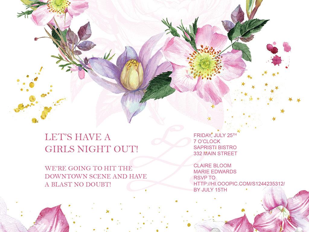 手绘矢量花卉婚礼生日创意海报素材下载,作品模板源文件可以编辑替换