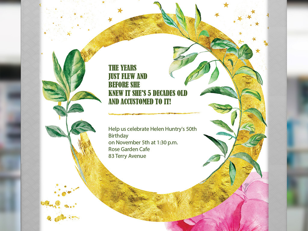 清新文艺淡彩手绘花卉植物生日邀请矢量海报