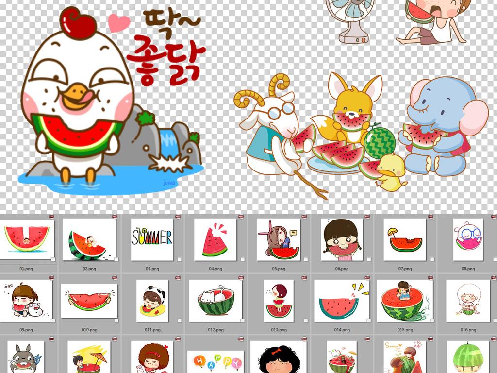 可爱卡通吃西瓜png透明背景免扣素材