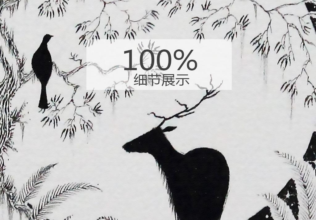 北欧欧式森林手绘麋鹿无框装饰画