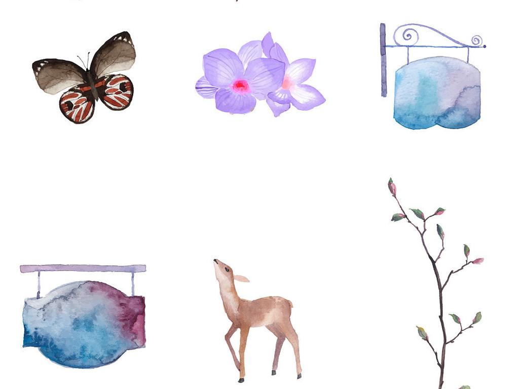 多款唯美手绘水彩树叶png素材系列1