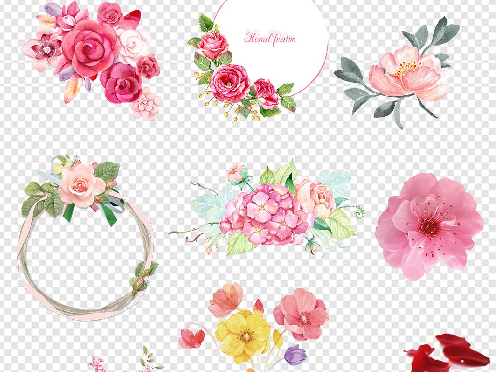 520情人节素材浪漫手绘水彩唯美花朵玫瑰花图片花卉