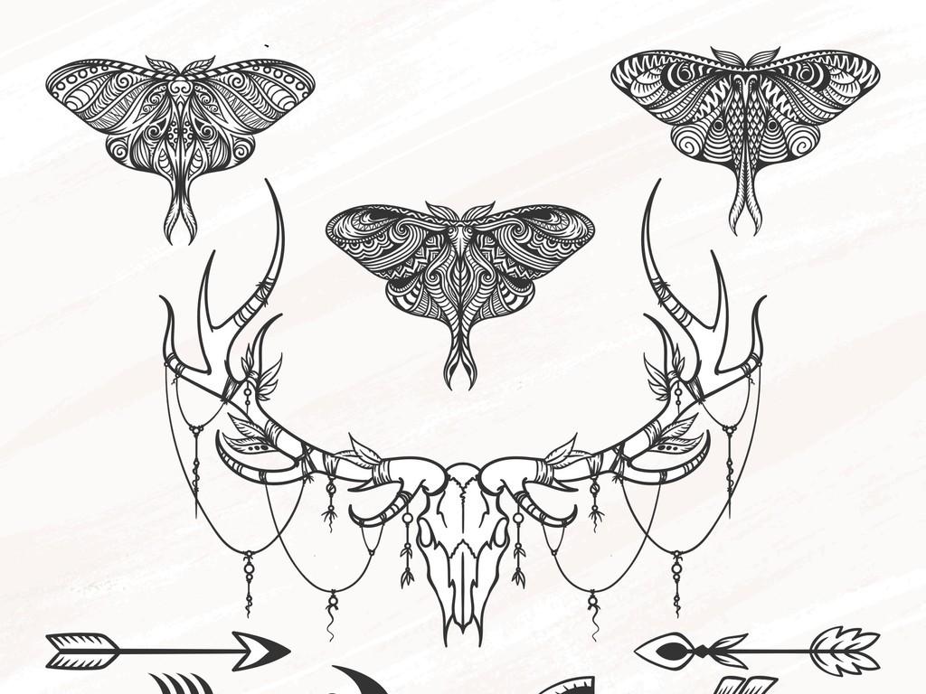 手绘黑白蝴蝶花卉线稿