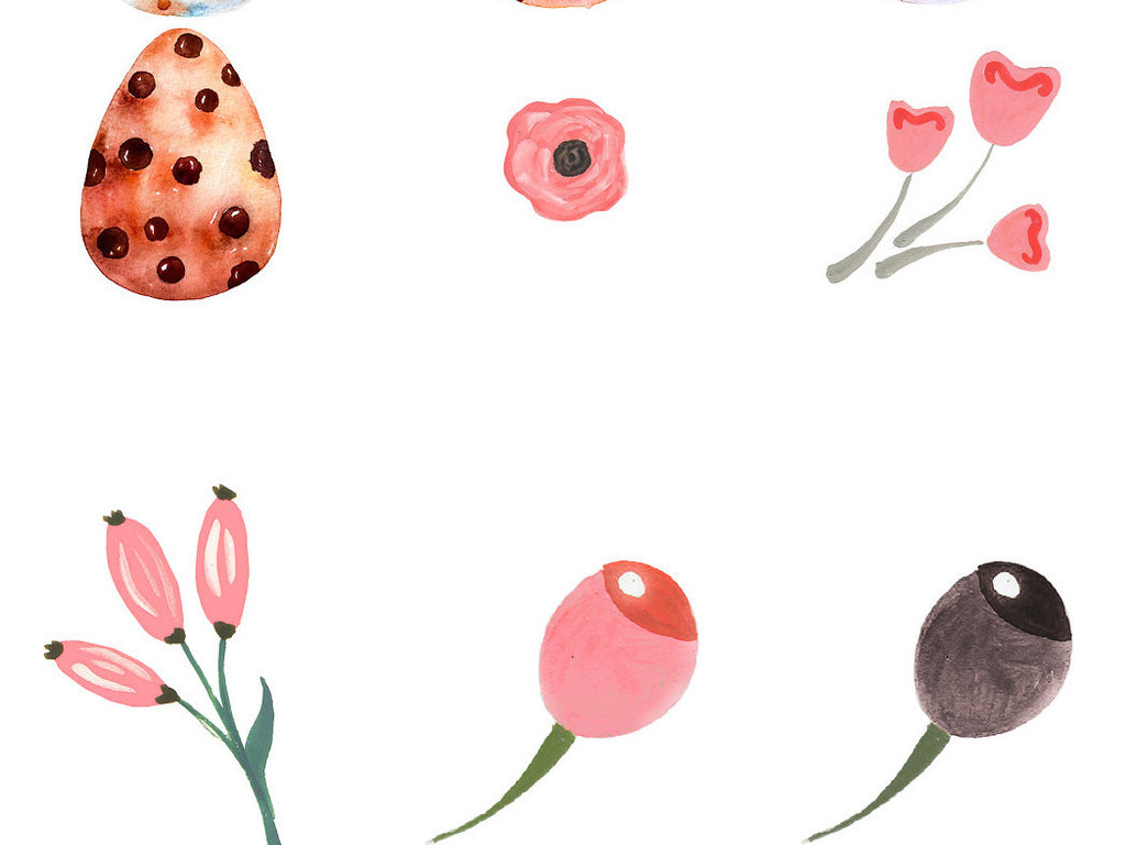 手绘水彩彩蛋装饰免抠png素材
