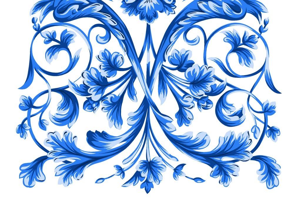 风海报素材中国风手绘花纹                                  青花瓷