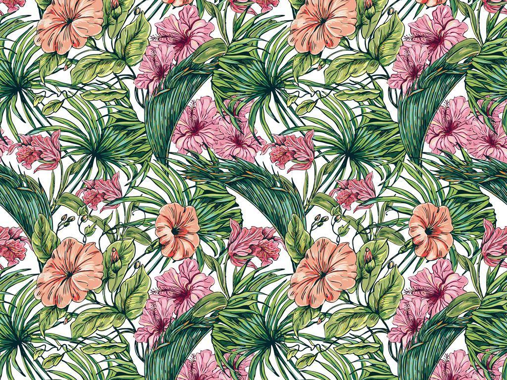 热带植物花卉图案