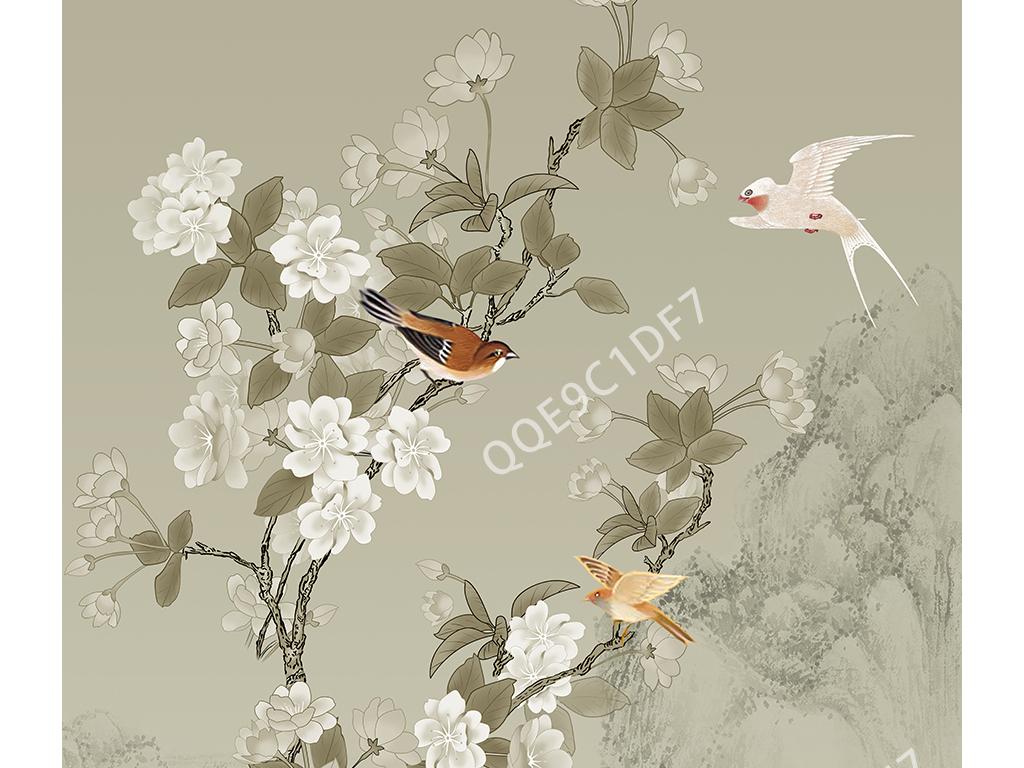 新中式手绘海棠花鸟玄关背景图