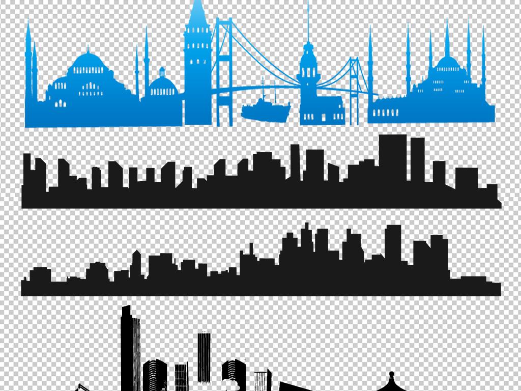 psd)建筑手绘速写素材大城市剪影