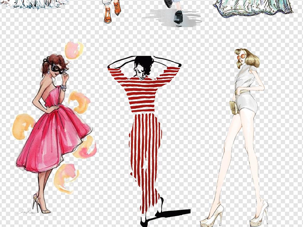 手绘时尚美女模特时装秀素材