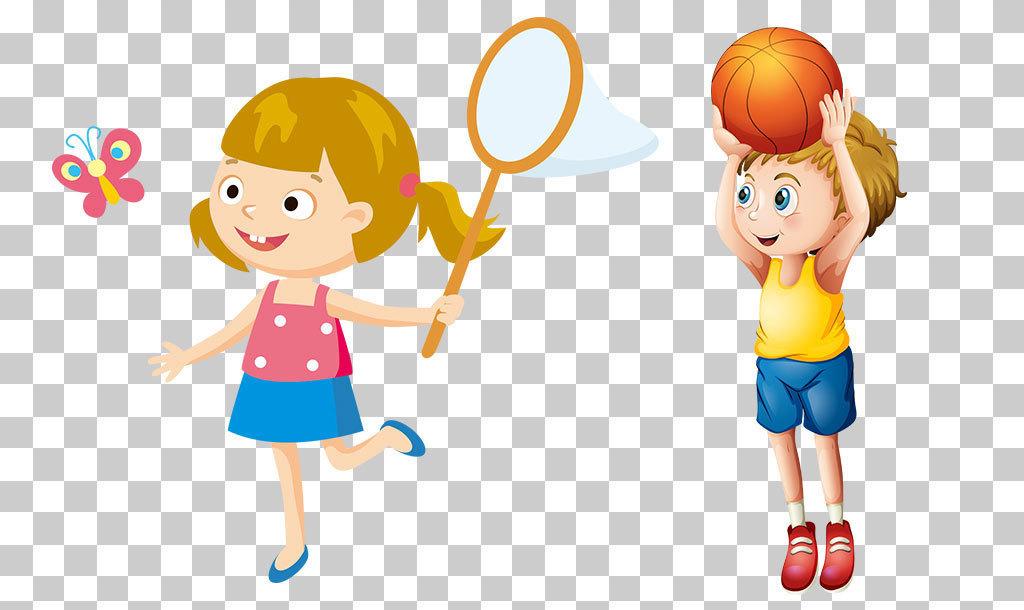 卡通手绘学生儿童体育运动玩耍png免扣素材