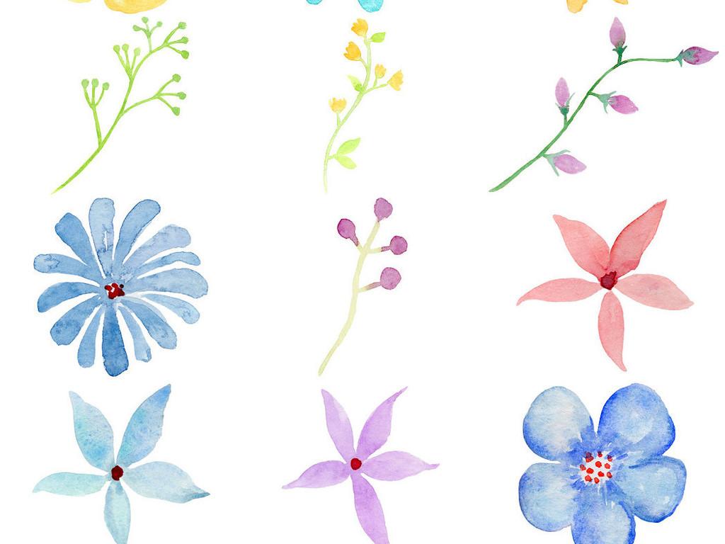 设计作品简介: 精美手绘水彩花叶免抠png素材1 位图, rgb格式高清大图